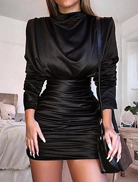 tanie Imprezowa noc-Damskie Pochwa Sukienka - Długi rękaw Jednokolorowe Z marszczeniami Pofałdowany Seksowny Impreza Rękaw nietoperz Szczupła Czarny Czerwony Królewski błękit S M L XL