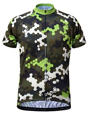 cheap Sports & Outdoors-JESOCYCLING Men's Short Sleeve Cycling Jersey Camouflage Bike Jersey Top Mountain Bike MTB Road Bike Cycling Breathable Quick Dry Moisture Wicking Sports Clothing Apparel / Stretchy