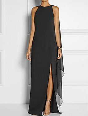 levne Party noc-Dámské Větší velikosti Párty Elegantní Shift Šaty - Jednobarevné, Vícevrstvé Maxi Černá