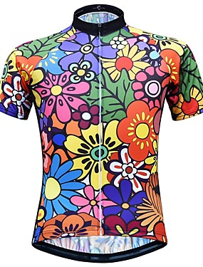 cheap Sports & Outdoors-JESOCYCLING Women's Short Sleeve Cycling Jersey Black Floral Botanical Bike Jersey Top Mountain Bike MTB Road Bike Cycling Breathable Quick Dry Moisture Wicking Sports Clothing Apparel / Stretchy