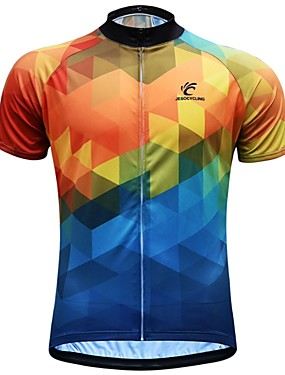 cheap Sports & Outdoors-JESOCYCLING Men's Short Sleeve Cycling Jersey Blue+Yellow Bike Jersey Top Breathable Moisture Wicking Quick Dry Sports 100% Polyester Mountain Bike MTB Road Bike Cycling Clothing Apparel / Stretchy
