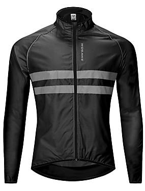 cheap Sports & Outdoors-WOSAWE Men's Cycling Jacket Bike Windbreaker Top Waterproof Windproof Breathable Sports Black / Orange / Green Mountain Bike MTB Road Bike Cycling Clothing Apparel Bike Wear / Reflective Strips