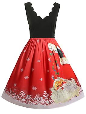cheap Toys & Hobbies-Dress Christmas Dress Santa Clothes Adults' Women's Dresses Christmas Christmas New Year Festival / Holiday Elastane Red Carnival Costumes Vintage Christmas Printing