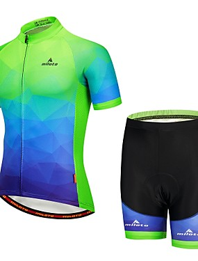 cheap Sports & Outdoors-Miloto Men's Short Sleeve Cycling Jersey with Shorts Navy Blue Bike Padded Shorts / Chamois Clothing Suit Reflective Strips Sports Mountain Bike MTB Clothing Apparel / Stretchy