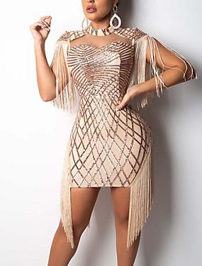 levne Party noc-Dámské Párty Klub Sexy Bavlna Štíhlý Bodycon Šaty - Jednobarevné, Flitry Třásně Mini Tričkový