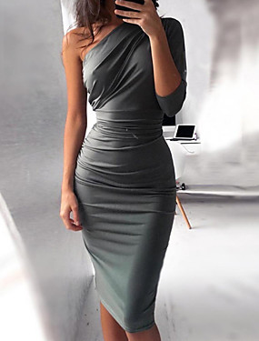 levne Party noc-Dámské Základní Štíhlý Bodycon Šaty - Jednobarevné, Plisé Délka ke kolenům Jedno rameno Vysoký pas / Sexy