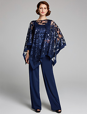 cheap Weddings & Events-Pantsuit / Jumpsuit Mother of the Bride Dress Elegant Plus Size Sparkle & Shine Scoop Neck Floor Length Chiffon Sequined Sleeveless with Lace Sequin 2020