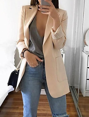 cheap Down to $2.99-Women's Blazer Daily Casual Basic Regular Solid Colored Black / Blue / Blushing Pink S / M / L