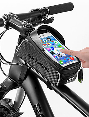 voordelige Sport & Buiten-ROCKBROS Mobiele telefoon tasje Fietsframetas 6 inch(es) Aanraakscherm Reflecterend waterdicht Wielrennen voor Allemaal Mobiele telefoon iPhone X iPhone XR Zwart Racefiets Mountain Bike / iPhone XS