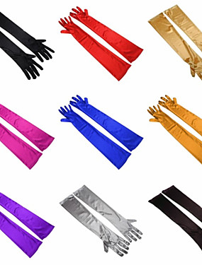cheap Party Gloves-Elastic Satin Opera Length Glove Simple Style With Solid