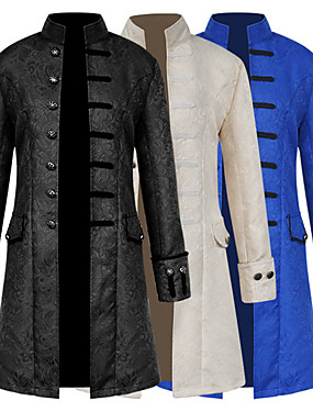 cheap Toys & Hobbies-Plague Doctor Medieval Steampunk Coat Frock Coat Men's Costume Black / White / Royal Blue Vintage Cosplay Long Sleeve