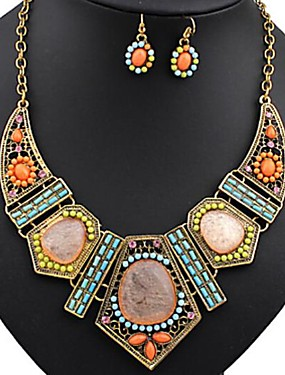 cheap Jewelry Deal-Women's Jewelry Set Statement Necklace Dangle Earrings Bib Ladies Bohemian Elegant Africa Colorful African Resin Rhinestone Earrings Jewelry Rainbow For Party Vacation 1 set