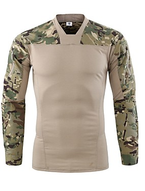 cheap Sports & Outdoors-Esdy Men's Camo Hiking Tee shirt Long Sleeve Outdoor Fast Dry Breathability Wearable Sweat-Wicking Tee / T-shirt Autumn / Fall Spring Cotton Blend Hunting Outdoor Exercise Army Green Camouflage Grey