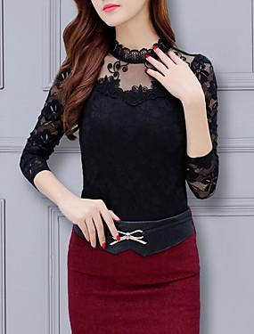 cheap UNDER $9.99-Women's Plus Size Geometric Lace Vintage Style Slim Blouse Daily Crew Neck White / Black / Purple / Red / Blushing Pink