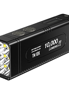 cheap Sports & Outdoors-Nitecore TM10K Handheld Flashlights / Torch LED LED Emitters 1 Mode with Batteries and Charger Cool Everyday Use