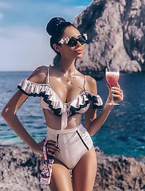 preiswerte Bikinis-Damen Gurt Weiß Schwarz Hohe Taillenlinie Tankinis Bademode - Punkt S M L Weiß