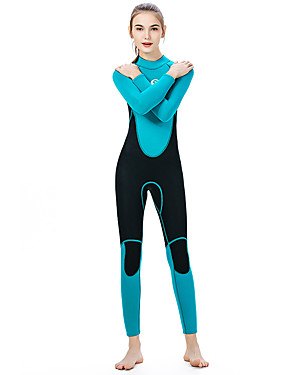 cheap Sports & Outdoors-SLINX Women's Full Wetsuit 3mm SCR Neoprene Diving Suit Thermal / Warm UV Resistant Quick Dry Long Sleeve Back Zip - Diving Water Sports Patchwork Autumn / Fall Spring Summer / Winter