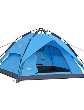 cheap Sports & Outdoors-DesertFox® 4 person Automatic Tent Outdoor Lightweight Windproof Rain Waterproof Double Layered Automatic Camping Tent >3000 mm for Beach Camping / Hiking / Caving Picnic Tulle Oxford Cloth