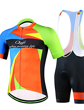 cheap Sports & Outdoors-cheji® Men's Short Sleeve Cycling Jersey with Bib Shorts Navy Blue Green Blue Bike Clothing Suit Breathable Quick Dry Sports Lycra Patchwork Mountain Bike MTB Road Bike Cycling Clothing Apparel