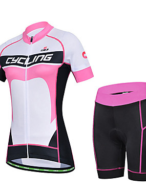 cheap Sports & Outdoors-cheji® Women's Short Sleeve Cycling Jersey with Shorts Lycra Black / White Patchwork Bike Clothing Suit Breathable Quick Dry Sports Patchwork Mountain Bike MTB Road Bike Cycling Clothing Apparel