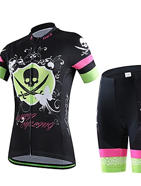 cheap Sports & Outdoors-cheji® Women's Short Sleeve Cycling Jersey with Shorts Lycra Green / Black Pink Blue Bike Clothing Suit Breathable 3D Pad Quick Dry Reflective Strips Sweat-wicking Sports Fashion Mountain Bike MTB