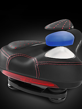 cheap Sports & Outdoors-Wheel up Bike Saddle / Bike Seat Extra Wide / Extra Large Breathable Comfort PU Leather Silica Gel Cycling Road Bike Mountain Bike MTB Black / Red Black / Green Black / Blue / Shock Absorbing