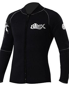cheap Sports & Outdoors-SLINX Men's Wetsuit Top Wetsuit Jacket 3mm SCR Neoprene Top Thermal / Warm UV Sun Protection Ultraviolet Resistant Long Sleeve Front Zip - Swimming Diving Water Shoes Solid Colored Autumn / Fall