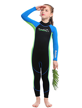 cheap Sports & Outdoors-SLINX Boys' Girls' Full Wetsuit 2mm SCR Neoprene Diving Suit Thermal / Warm UV Resistant Quick Dry Long Sleeve Back Zip - Diving Water Sports Patchwork Autumn / Fall Spring Summer / Winter / Kids