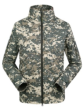 cheap Sports & Outdoors-Esdy Men's Hiking Jacket Winter Outdoor Camo Windproof Breathable Rain Waterproof Wear Resistance 3-in-1 Jacket Top Fleece Softshell Single Slider Hunting Outdoor Exercise Black / Mineral Green