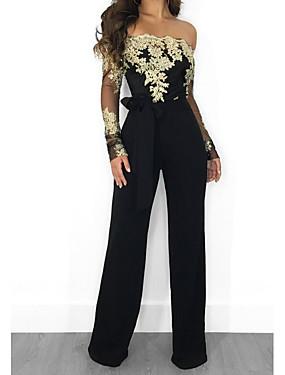 povoljno Ženska odjeća-Žene Crn Lila-roza Zlato Jumpsuits Cvjetni print Čipka Til Chiffon Čipka Pamuk / Wide Leg