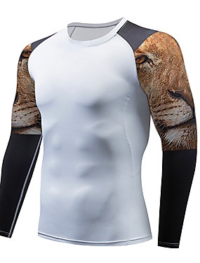 cheap Sports & Outdoors-Men's Compression Shirt Long Sleeve Compression Base layer T Shirt Top Plus Size Lightweight Breathable Quick Dry Soft Sweat-wicking Dark Grey Black / Red Black / Yellow Fleece Winter Road Bike