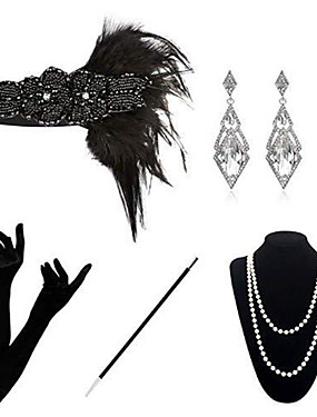 cheap Toys & Hobbies-The Great Gatsby Charleston 1920s The Great Gatsby Costume Accessory Sets Masquerade Women's Costume Bead Bracelet Pearl Necklace Black Vintage Cosplay Party Halloween / 1 Necklace / Gloves