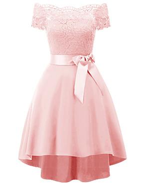 levne Party noc-Dámské Štíhlý A Line Šaty - Jednobarevné Asymetrické Pod rameny Dusty Rose