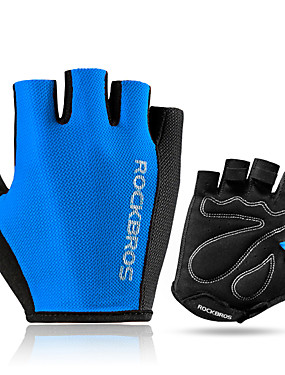 cheap Sports & Outdoors-ROCKBROS Bike Gloves / Cycling Gloves Mountain Bike Gloves Mountain Bike MTB Road Bike Cycling Lightweight Sunscreen Breathable Padded Fingerless Gloves Half Finger Sports Gloves Sponge Mesh Terry