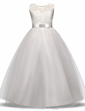 cheap The Wedding Store-Princess Long Length Flower Girl Dress - Lace / Tulle Sleeveless Jewel Neck with Bow(s) / Embroidery / Lace by LAN TING Express
