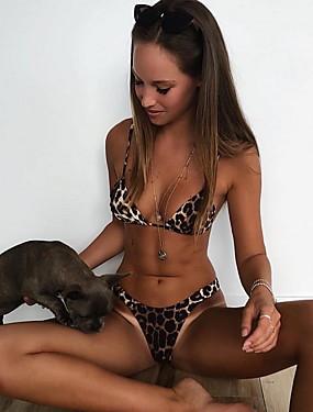 preiswerte Bikinis-Damen Braun Cheeky-Bikinihose Tankinis Bademode - Leopard S M L Braun