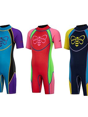 cheap Sports & Outdoors-Bluedive Boys' Girls' Shorty Wetsuit 2.5mm SCR Neoprene Diving Suit Thermal / Warm Quick Dry Anatomic Design Short Sleeve Back Zip - Diving Water Sports Patchwork Autumn / Fall Spring Summer / Winter
