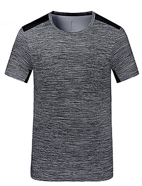 cheap Sports & Outdoors-Men's Hiking Tee shirt Short Sleeve Outdoor UV Resistant Breathable Quick Dry Tee / T-shirt Top Autumn / Fall Spring POLY Crew Neck Camping / Hiking Back Country Bike / Cycling Dark Grey Fuchsia Grey