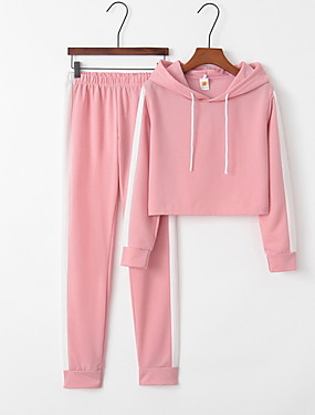 cheap Clearance-Women's Sporty Set - Striped Pant Hooded/StayCation