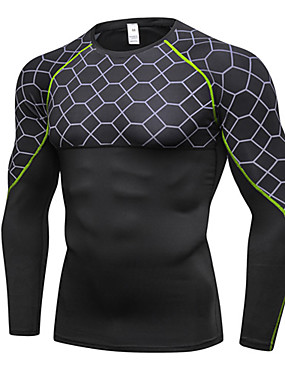 cheap Sports & Outdoors-Men's Compression Shirt Long Sleeve Compression Base layer T Shirt Top Lightweight Breathable Quick Dry Soft Sweat-wicking Jacinth +Gray Gray+Green Red Fleece Lycra Winter Road Bike Mountain Bike MTB