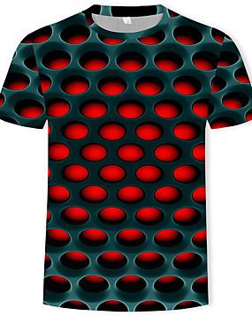 preiswerte BigSave-Herrn Einfarbig / 3D - Street Schick / Übertrieben T-shirt, Rundhalsausschnitt Druck Purpur / Kurzarm