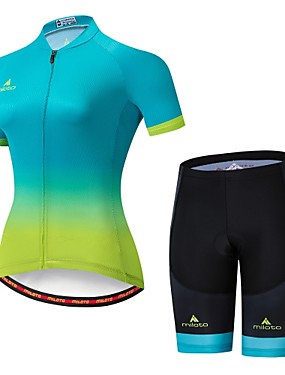 cheap Sports & Outdoors-Miloto Women's Short Sleeve Cycling Jersey with Shorts Bule / Black Bike Jersey Padded Shorts / Chamois Clothing Suit Breathable Moisture Wicking Reflective Strips Sports Lycra Multi Color Clothing