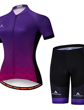 cheap Sports & Outdoors-Miloto Women's Short Sleeve Cycling Jersey with Shorts Camouflage Gradient Bike Jersey Padded Shorts / Chamois Clothing Suit Breathable Moisture Wicking Reflective Strips Sports Lycra Gradient