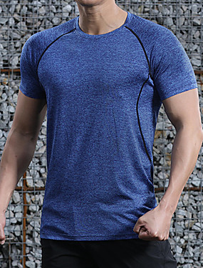 cheap Sports & Outdoors-Men's Hiking Tee shirt Short Sleeve Outdoor UV Resistant Breathable Quick Dry Sweat-Wicking Tee / T-shirt Top Autumn / Fall Spring POLY Crew Neck Running Camping / Hiking Exercise & Fitness Dark Grey