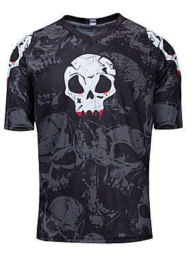 cheap Motorcyle Clothing-Men's Short Sleeve Cycling Jersey Downhill Jersey Dirt Bike Jersey Summer Black Skull Bike Jersey Top Mountain Bike MTB Road Bike Cycling Quick Dry Breathable Back Pocket Sports Clothing Apparel