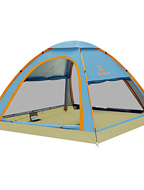cheap Sports & Outdoors-KEUMER 4 person Family Tent Outdoor Windproof Rain Waterproof Wearable Single Layered Automatic Camping Tent 1500-2000 mm for Camping / Hiking / Caving Picnic Carbon Fiber Oxford Cloth 210*210*130 cm