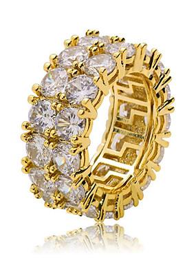 povoljno Muški nakit-Muškarci Prsten Kubični Zirconia 1pc Zlato Srebro Kamen Krug Stilski Hip-hop Party Dnevno Jewelry Klasičan Cool