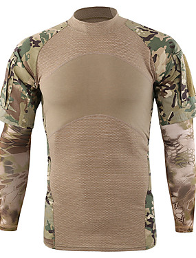 cheap Sports & Outdoors-Esdy Men's Camo Hiking Tee shirt Long Sleeve Outdoor Quick Dry Moisture Wicking High Elasticity Tee / T-shirt Top Autumn / Fall Spring Cotton Blend Crew Neck Fishing Climbing Military / Tactical Army