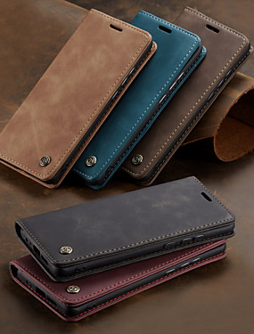 cheap Huawei Case-Caseme Case For Huawei Huawei P smart / Huawei P Smart 2019 Wallet / Card Holder / Shockproof Full Body Cases Solid Colored Hard PU Leather