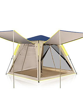 cheap Sports & Outdoors-KEUMER 4 person Family Tent Outdoor Windproof Rain Waterproof Wearable Single Layered Poled Camping Tent 1500-2000 mm for Camping / Hiking / Caving Picnic Glass fiber Oxford Cloth 210*210*168 cm